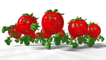 Group of running tomatoes. 3D render. Standard-Bild