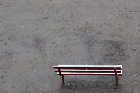 mud and snow: Winter bench.