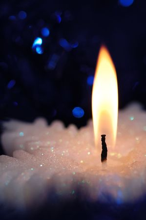 Snowflake shaped candle.