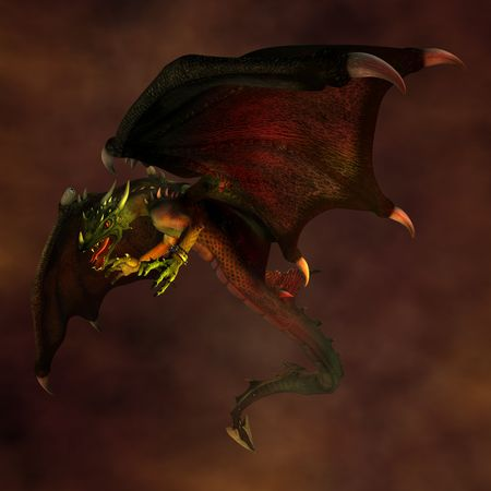 Dragon flying in the dark sky. Illustration. 3D render.