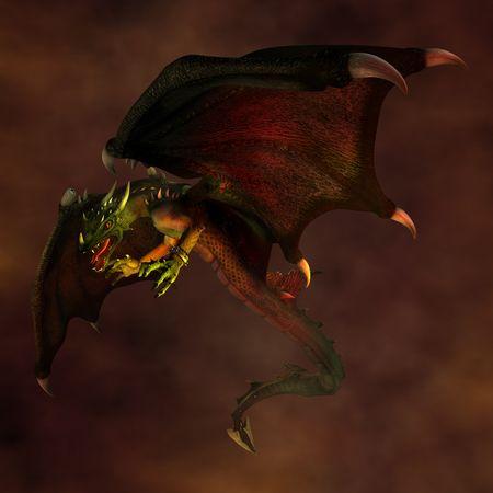 drago alato: Dragon vola nel cielo scuro. Illustrazione. 3D render.