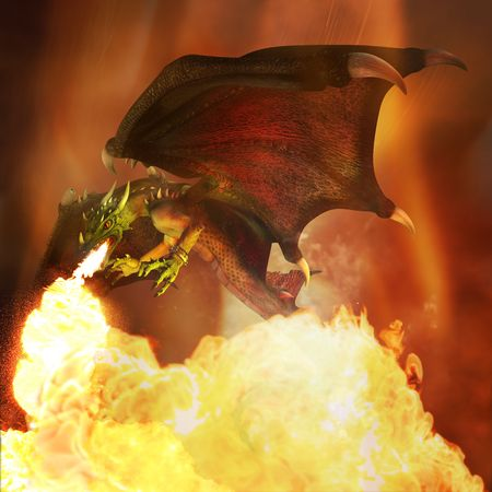 Flying fiery dragon in the dark sky. Illustration. 3D render. 스톡 콘텐츠