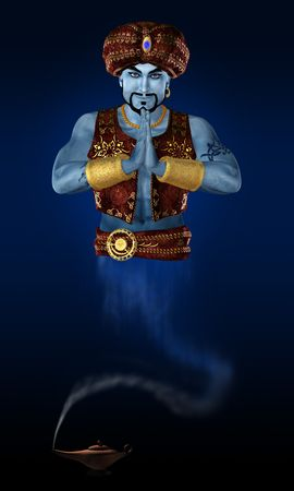 jinn: Genie from lamp. 3D render.