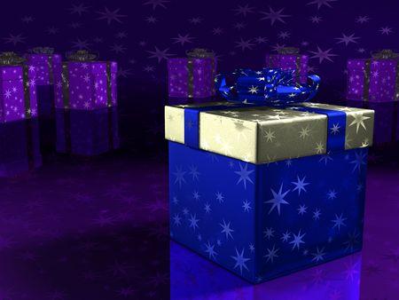 Blue bo�te-cadeau. 3D render. Banque d'images