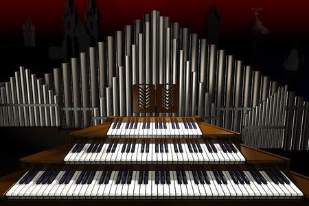 Big old organ on the dark background. Illustration. 3D render. 스톡 콘텐츠