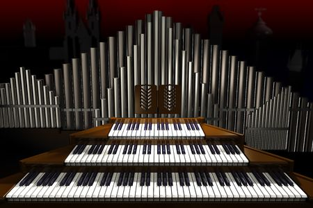 Big old organ on the dark background. Illustration. 3D render. Stock Photo
