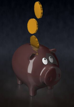 accumulate: Ceramic piggy bank. Illustration. 3D render. Dark brown color.