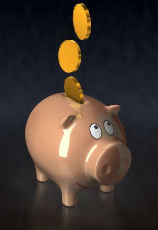 accumulate: Ceramic piggy bank. Illustration. 3D render. Light brown color.