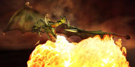 drago alato: Drago alato nel fuoco. Illustrazione. 3D render.
