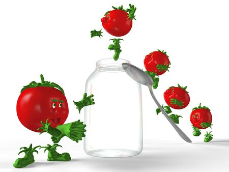 detachment: Red tomatoes jumping to the empty glass jar. Stock Photo