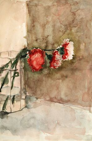 Carnations in glass vase. Watercolors paint on the white paper. Handmade. photo
