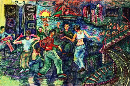rave: Rave dance party. Color pen drawing. Illustration. Stock Photo