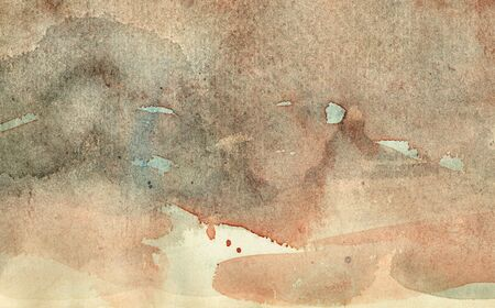 aquarelle painting art: Greyish-brown watercolors on the white paper. Handmade. Texture.