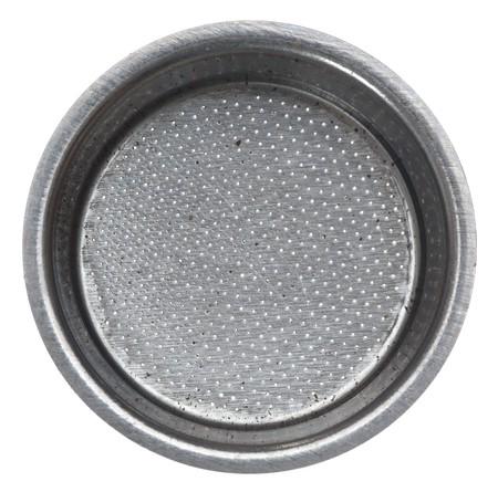 Dubbele shot mand voor espresso machine portafilter. Geïsoleerd op de witte. Oude en gebruikte. Stockfoto - 4315690