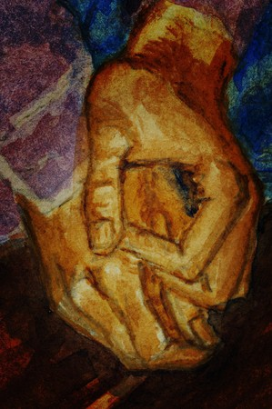 Man hands. Watercolors paint on the white paper. Handmade. Illustration.