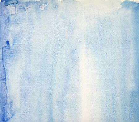 aquarelle painting art: Blue water-colour on the white paper. Handmade. Texture.