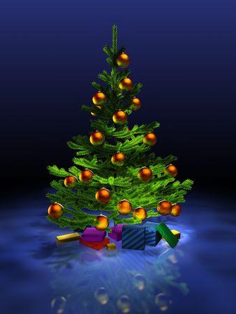 Big christmas tree on the dark blue background. 3D render. Illustration.