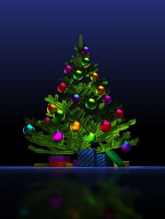 Big christmas tree on the dark blue background. 3D render. Illustration. Stock Illustration - 5109794