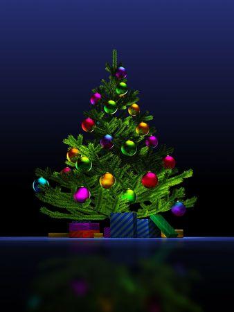 Grand arbre de No�l sur le fond bleu fonc�. 3D render. Illustration.