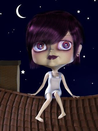 Girl with big head sitting on the roof. 3D render. Illustration. Stock Illustration - 5109798