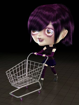 warmer: Girl with shopping cart. 3D render. Illustration. Stock Photo