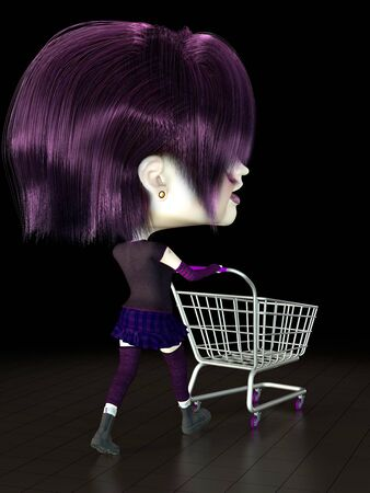 Girl with shopping cart. 3D render. Illustration. Stock Illustration - 5370568