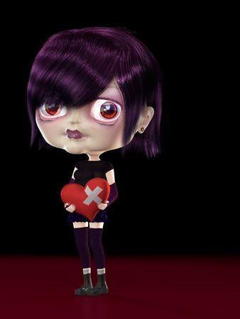 Girl with broken heart in the hands. 3D render. Illustration illustration
