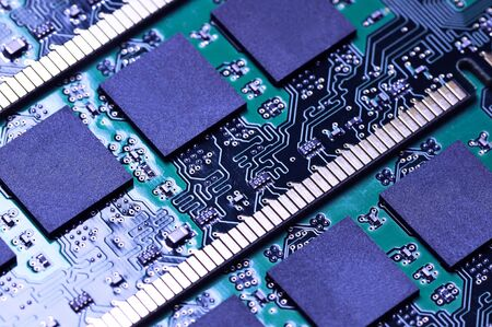 dimm: Computer memory modules. Close-up. Fragment. Narrow depth of field. Stock Photo