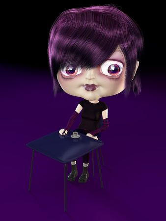 Girl with big head drinking coffee. 3D render. Illustration. illustration