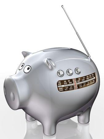 indicator panel: Piggy bank with radio receiver. Illustration. 3D render.