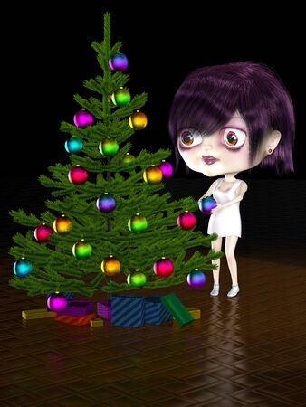 lass: Girl with big head decorate christmas tree. Illustration. 3D render.