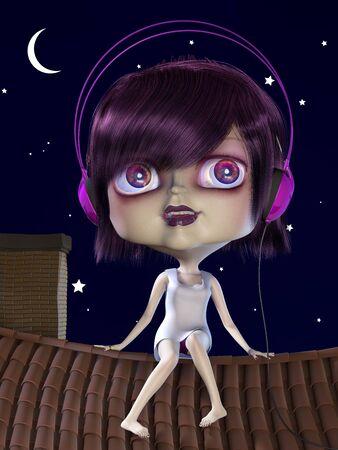 grosse tete: La jeune fille � grosse t�te en �coutant de la musique sur le toit. Illustration. 3D render.