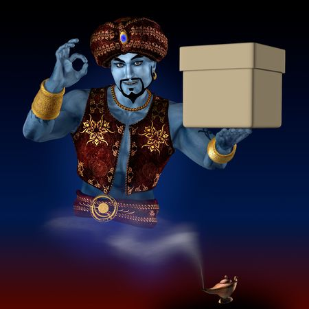 Genie from lamp bring the box. 3D render. Illustration. Standard-Bild
