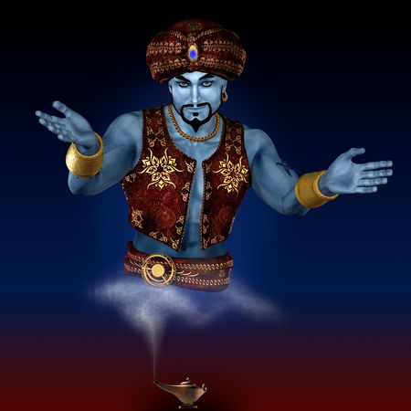 jinn: Genie from lamp. 3D render. Illustration.