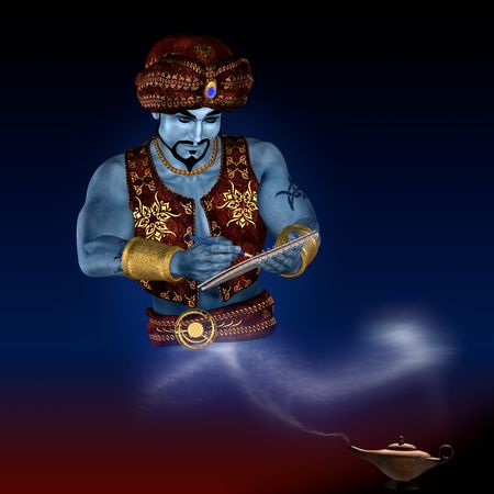 jinn: Genie from lamp with writing-pad. 3D render. Illustration. Stock Photo