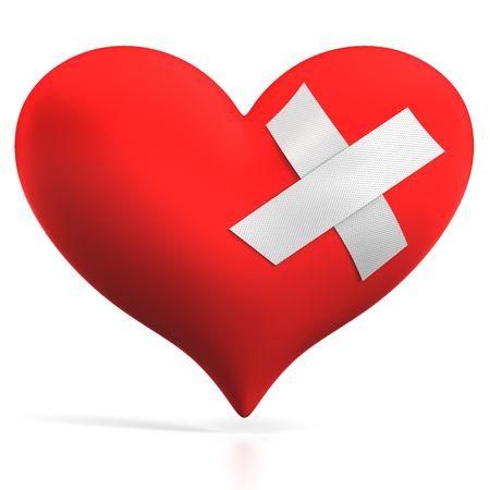 Big red heart with plaster on the white background. Illustration. 3d render. illustration