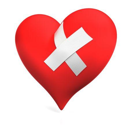 Big red heart with plaster on the white background. Illustration. 3d render. Standard-Bild