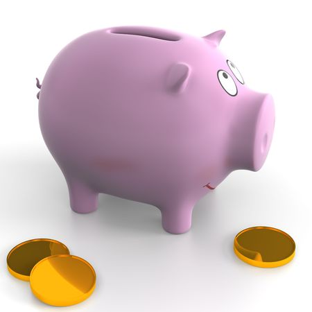 accumulate: Ceramic piggy bank on the white background. Illustration. 3D render. Pink color.