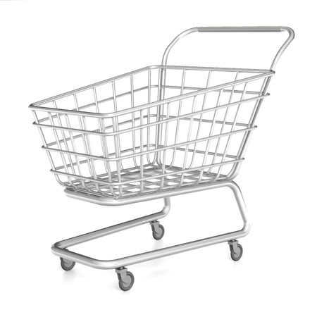 Grey metal shopping cart on the white background. 3D render. Illustration.