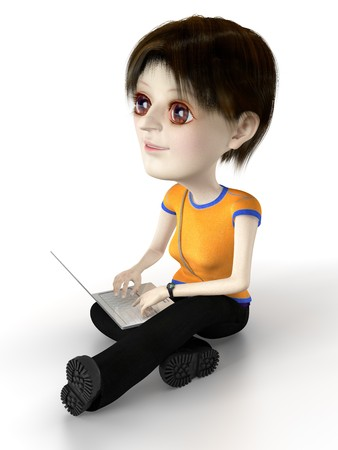 techie: Techie girl are sitting on the floor with laptop. Illustration. 3d render. Stock Photo