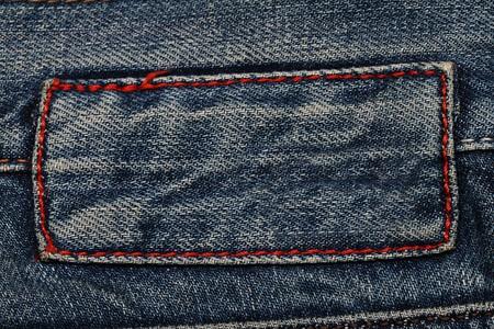 jeans texture: Textura de Jeans. Fragmento. Etiqueta vac�a.  Foto de archivo