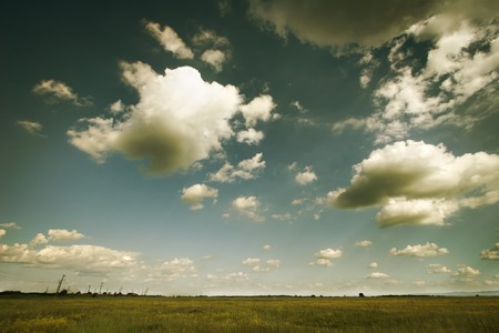spaciousness: White clouds over the green field. Summer.