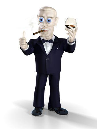 Man dressed in tuxedo drinking brandy and smoking good cigar. Illustration. 3D render. illustration