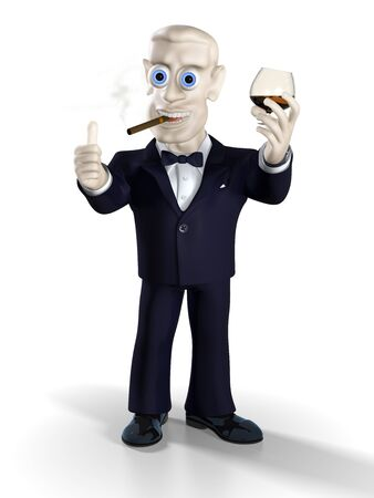 cigar smoking man: Man dressed in tuxedo drinking brandy and smoking good cigar. Illustration. 3D render. Stock Photo