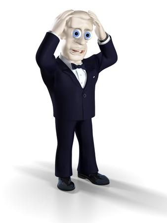 unfortunate: Man dressed in tuxedo gesturing. Illustration. 3D render.