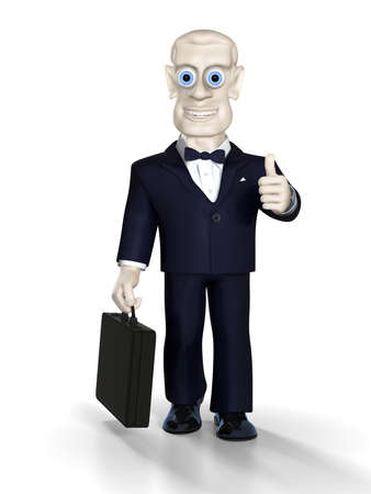Cheerful businessman with briefcase in the right hand. Illustration. 3D render. illustration