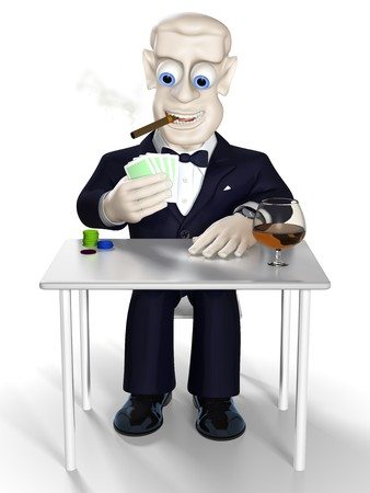 Man dressed in tuxedo with gambling cards in the hand. Illustration. 3D render. illustration