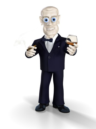 Man dressed in tuxedo drinking brandy and smoking good cigar. Illustration. 3D render. illustration