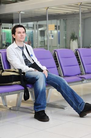 Man in the airport Suvarnabhumi. Bangkok. Thailand.