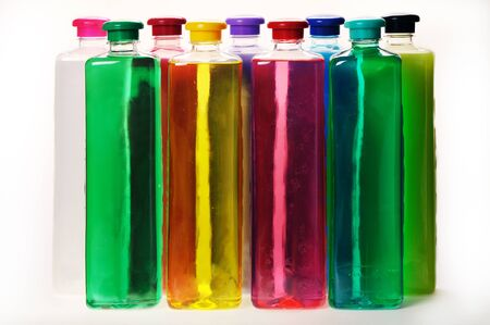 liquid soap: Bottles with color liquid soap on the white background.